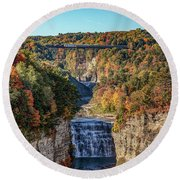Round Beach Towel featuring the photograph Train Over Letchworth by Rod Best