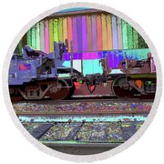 Train Parked Round Beach Towel