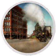 Round Beach Towel featuring the photograph Train - Respect The Train 1905 by Mike Savad