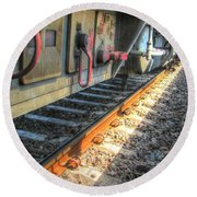 Round Beach Towel featuring the pyrography Train Road by Yury Bashkin