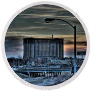 Train Station Detroit Mi Round Beach Towel by Nicholas  Grunas