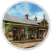 Round Beach Towel featuring the photograph Train Station - Garrison Train Station 1880 by Mike Savad