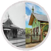 Round Beach Towel featuring the photograph Train Station - Garrison Train Station 1880 - Side By Side by Mike Savad