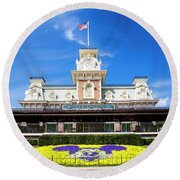 Train Station Round Beach Towel by Greg Fortier