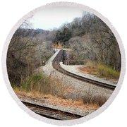 Train Tracks Across The New River - Radford Virginia Round Beach Towel