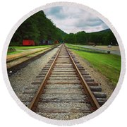 Round Beach Towel featuring the photograph Train Tracks by Linda Sannuti