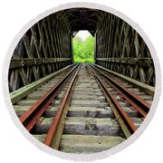Train Tunnel Round Beach Towel
