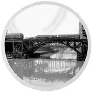 Round Beach Towel featuring the photograph Trains Cross Jack Knife Bridge - Chicago C. 1907 by Daniel Hagerman