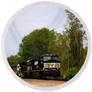 Trains On The Track-1 Round Beach Towel