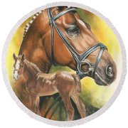 Round Beach Towel featuring the mixed media Trakehner by Barbara Keith