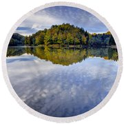 Trakoscan Lake In Autumn Round Beach Towel