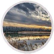 Tranquil Chesapeake Bay Pond During Winter At Sunset Round Beach Towel