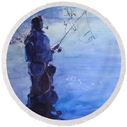 Watercolor Tranquil Fishing Round Beach Towel