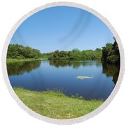 Round Beach Towel featuring the photograph Tranquil Lake by Gary Wonning