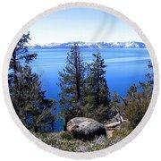 Tranquil Lake Tahoe Round Beach Towel