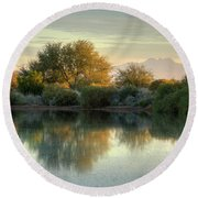 Tranquil Morning At The Lake Round Beach Towel