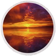 Tranquil Oasis Round Beach Towel by Phil Koch