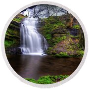 Tranquil Slow Soft Waterfall Round Beach Towel