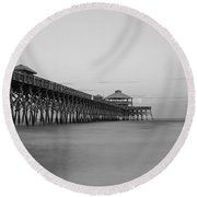 Tranquility At Folly Grayscale Round Beach Towel by Jennifer White