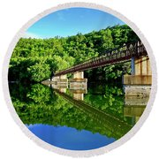 Tranquility At The James River Footbridge Round Beach Towel