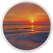 Round Beach Towel featuring the photograph Tranquility - Florida Sunset by HH Photography of Florida