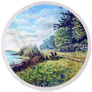 Round Beach Towel featuring the painting Tranquility by Heidi Kriel