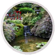 Tranquility In A Japanese Garden Round Beach Towel