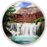 Tranquility In The Canyon Round Beach Towel