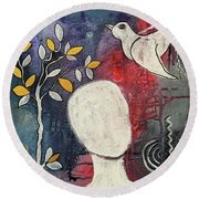 Round Beach Towel featuring the mixed media Tranquility by Mimulux patricia no No