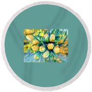 Round Beach Towel featuring the photograph Tranquility Of Spring - Yellow Tulips by Miriam Danar