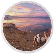 Round Beach Towel featuring the photograph Tranquility by Tassanee Angiolillo