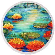 Round Beach Towel featuring the painting  Tranquility V  by Teresa Wegrzyn