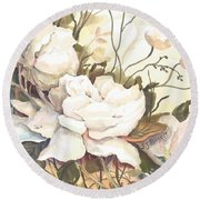 Tranquility Study In White Round Beach Towel