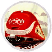 Trans Europ Express Railway,train,vintage Poster Round Beach Towel