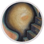 Round Beach Towel featuring the painting Transcendence by Mini Arora