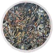 Round Beach Towel featuring the mixed media Transformation by Joanne Smoley