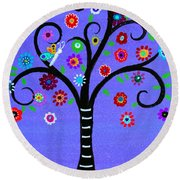 Round Beach Towel featuring the painting Transformation Tree Of Life by Pristine Cartera Turkus