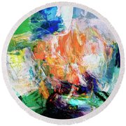 Round Beach Towel featuring the painting Transformer by Dominic Piperata