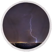 Round Beach Towel featuring the photograph It's A Hit Transformer Lightning Strike by James BO Insogna