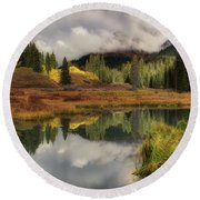 Round Beach Towel featuring the photograph Transition by OLena Art Brand