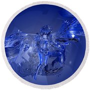 Transparent Blue Angel Round Beach Towel