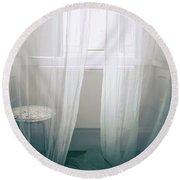 Transparent White Curtains Round Beach Towel