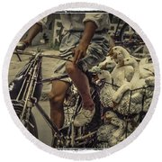 Round Beach Towel featuring the photograph Transport By Bicycle In China by Heiko Koehrer-Wagner