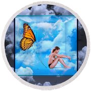 Trapped Butterfly Round Beach Towel