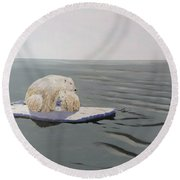 Round Beach Towel featuring the painting Stranded by Kevin Daly