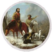 Round Beach Towel featuring the painting Trappers             by Trego and Williams