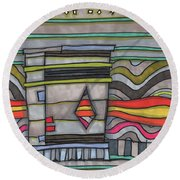 Trash Can In The Alley Round Beach Towel by Sandra Church