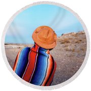 Traveler Round Beach Towel by Evgeniya Lystsova