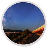 Round Beach Towel featuring the photograph Traveling At The Speed Of Light by Cat Connor