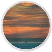Traveling Between Here And There Round Beach Towel